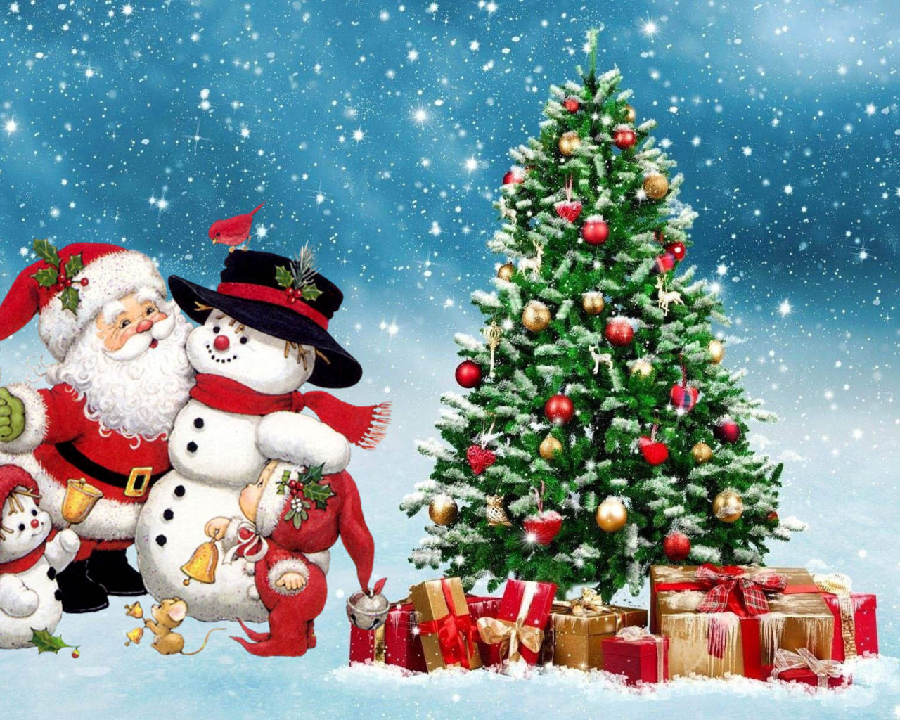 Love Quotes Wallpapers For Free Download Merry Christmas Santa Snowman Winter Christmas Tree