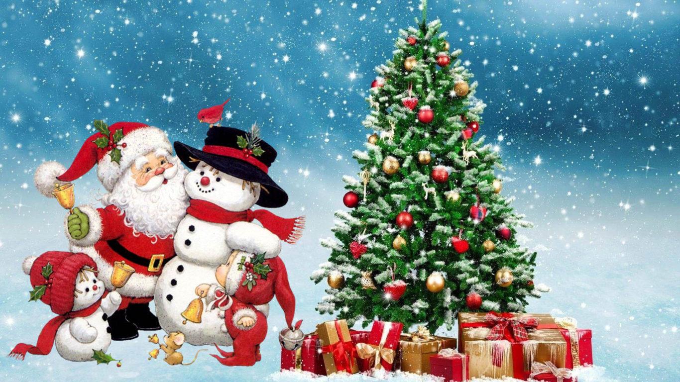 Card Wallpaper Hd Merry Christmas Santa Snowman Winter Christmas Tree