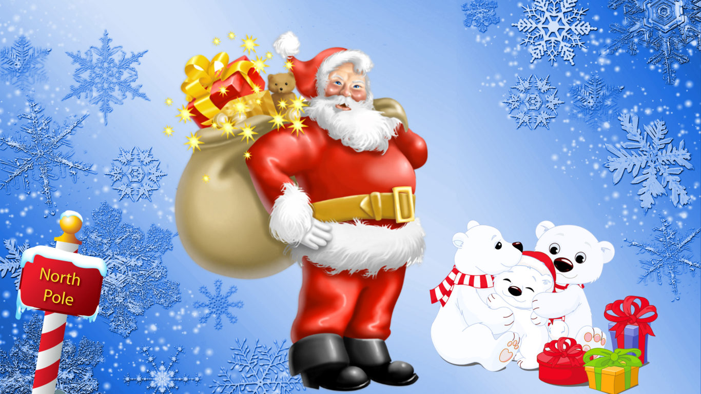 Download Happy New Year D Santa Claus North Pole Gifts For Polar Bears Desktop Hd