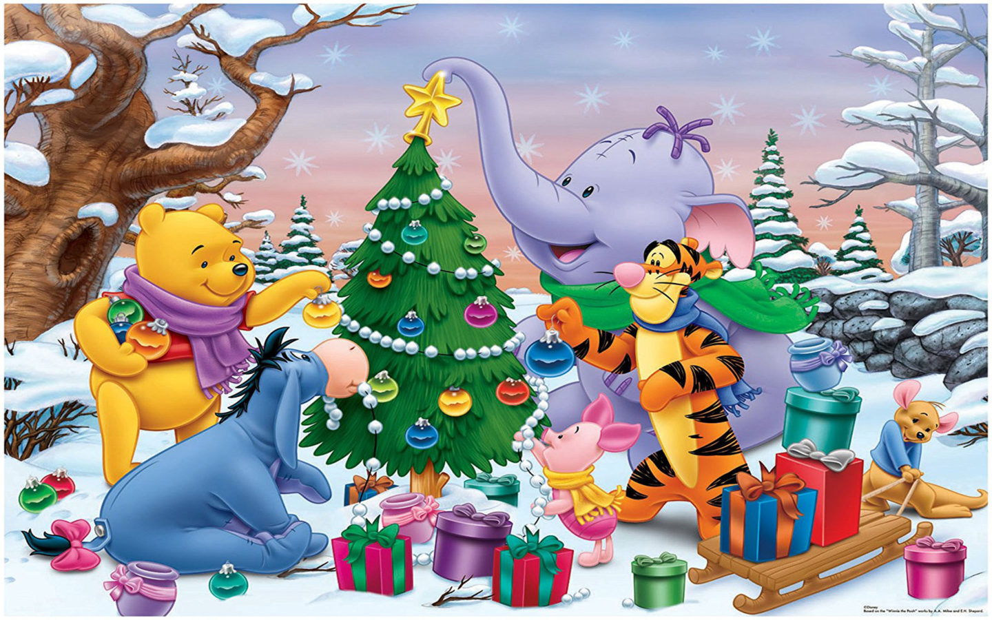 Pooh Bear Iphone Wallpaper Cartoon Winnie The Pooh And Friends Decorating The