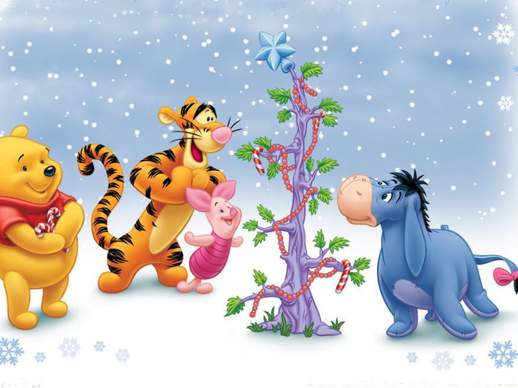 Cartoon Wallpaper Iphone X Cartoon Winnie The Pooh And Friends Winter Christmas Tree