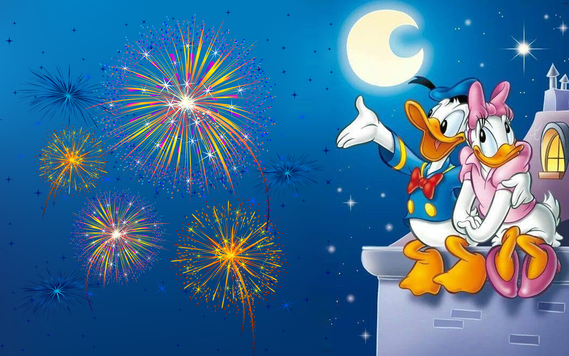Animated Christmas Desktop Wallpaper Free Download Donald Duck And Daisy Duck Romantic Evening Watching The