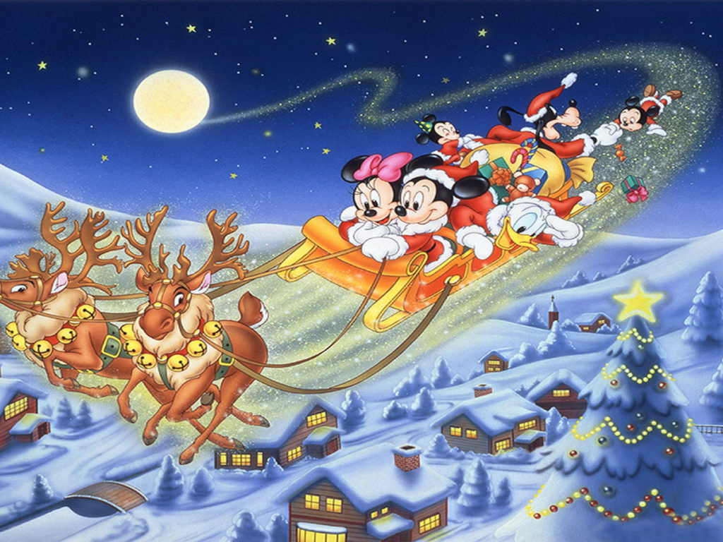 Disney Cartoon Characters Wallpapers In 3d Merry Christmas Mickey Mouse And Friends Sledge Deer Gifts