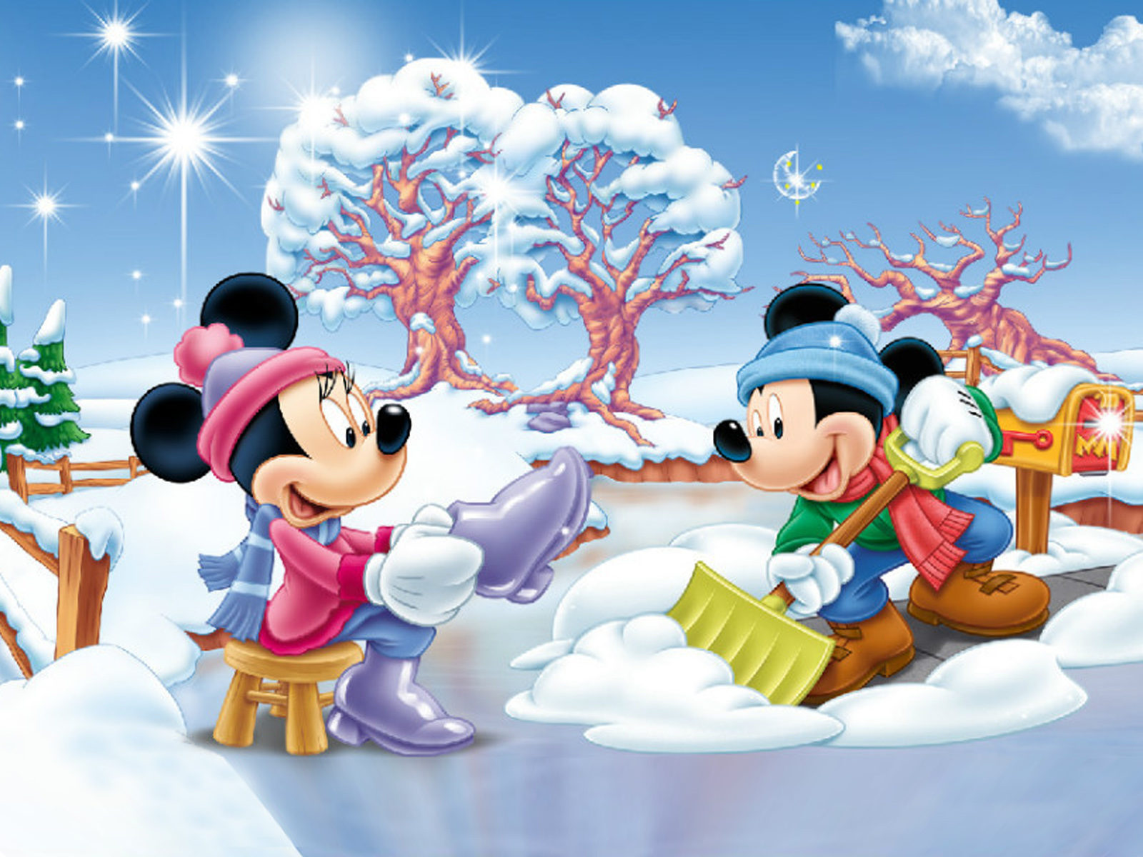 Pooh Wallpaper Iphone Minnie And Mickey Mouse Winter Snow Fence Yard Blue Sky