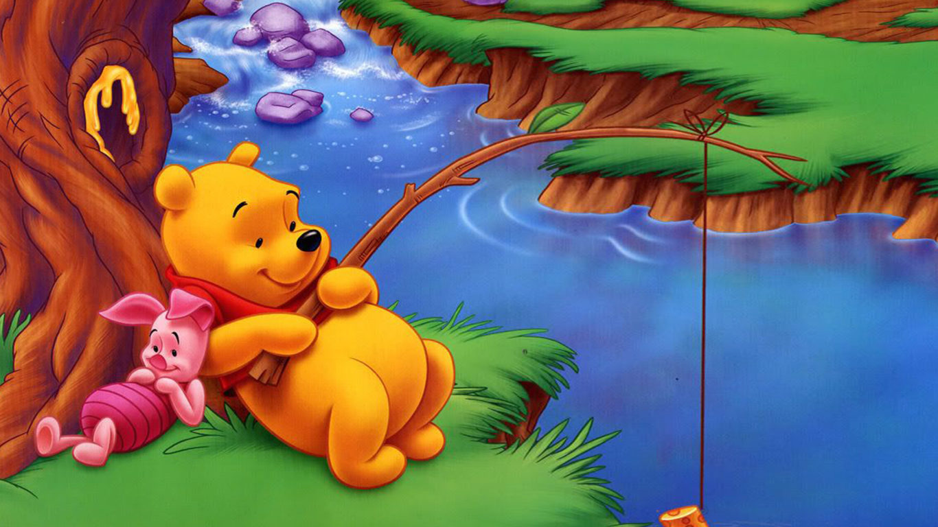 Iphone Fish Wallpaper Winnie The Pooh And Piglet River Fishing Of Fish Cartoon