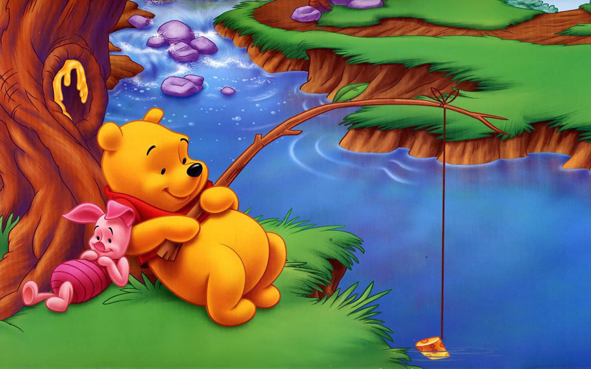 Cute Live Wallpapers Free Download For Android Winnie The Pooh And Piglet River Fishing Of Fish Cartoon