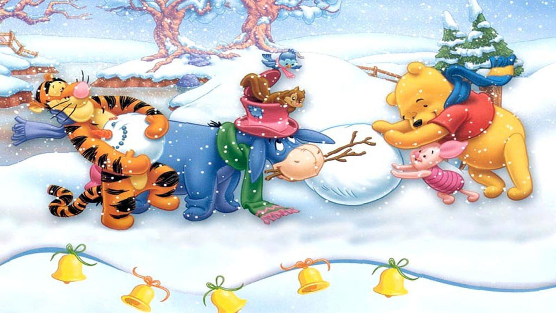 Piglet Wallpaper Iphone Winnie The Pooh Making Snowman Merry Christmas Hd