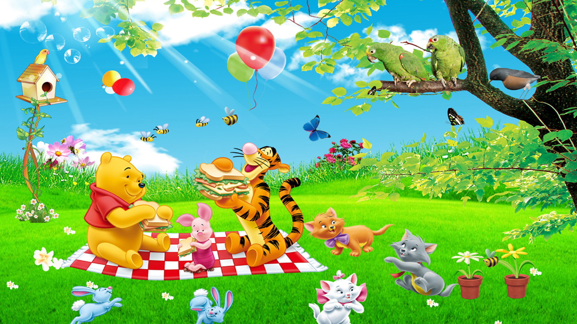 Cute Pooh Bear Wallpapers Cartoon Tigger Piglet And Winnie The Pooh Picnic Summer