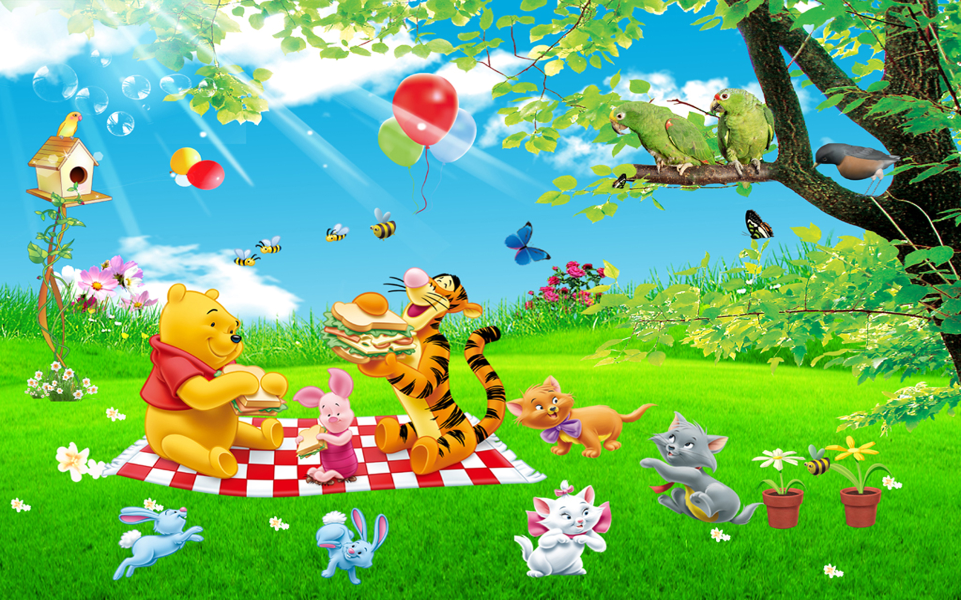 Fall Harvest Wallpaper 1024x768 Cartoon Tigger Piglet And Winnie The Pooh Picnic Summer