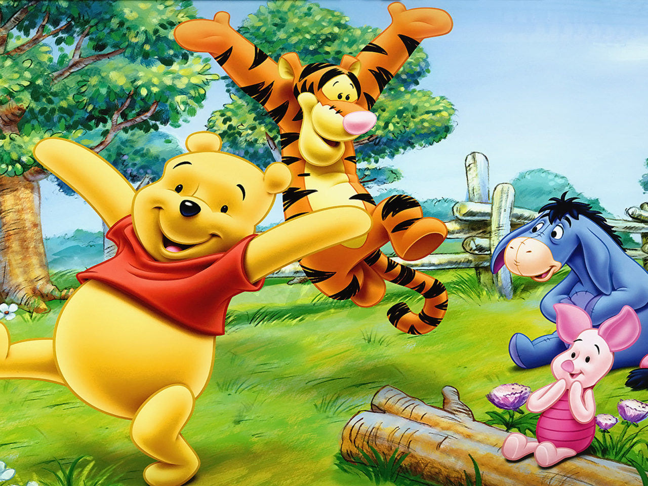 Disney Cars Wallpapers Free Cartoon Tigger Piglet And Winnie The Pooh Happy And