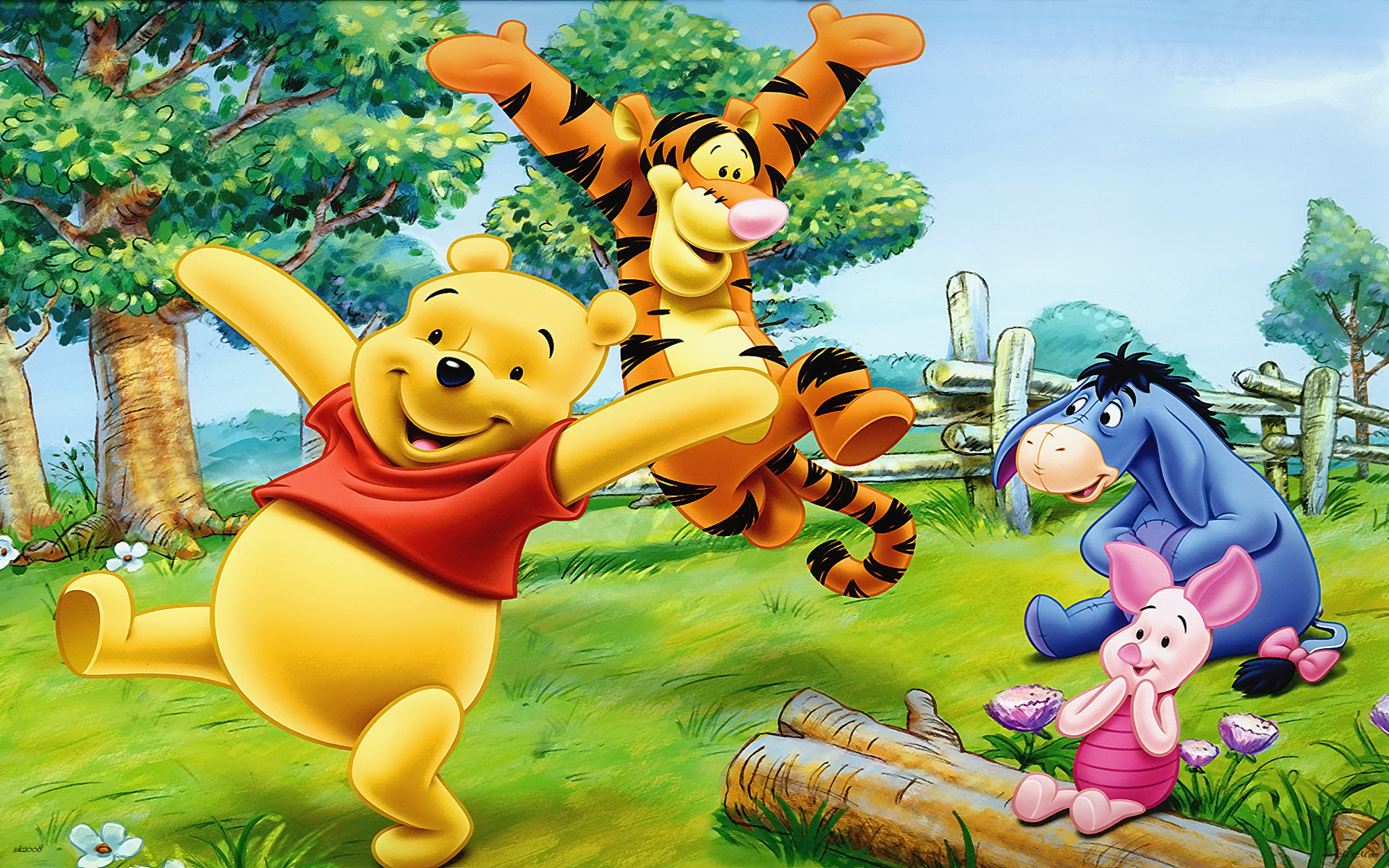 Desktop Wallpaper Hd 3d Full Screen Baby Cartoon Tigger Piglet And Winnie The Pooh Happy And