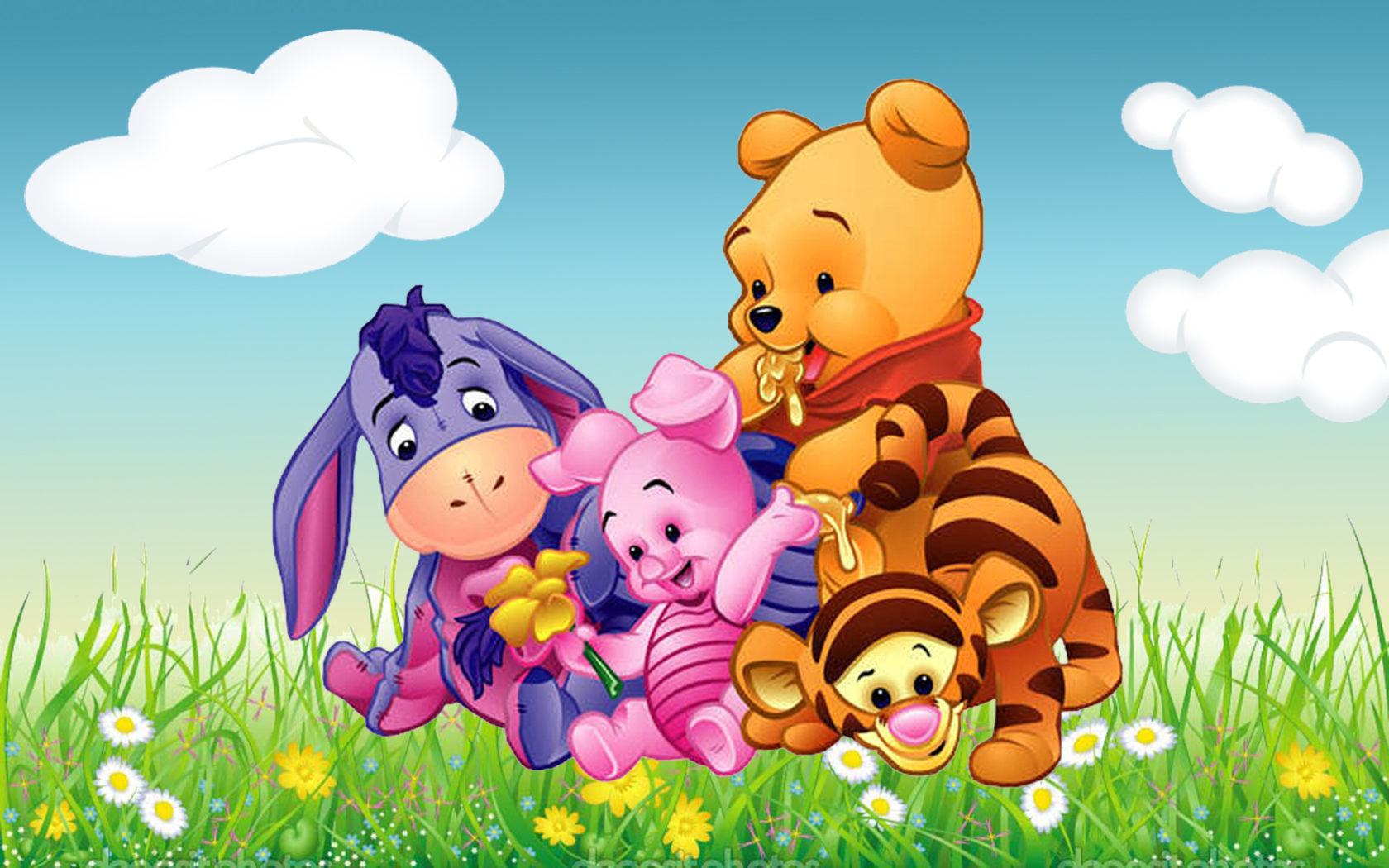 Cute Wallpapers Of Piglet And A Bunny Cartoon Winnie The Pooh Tigger Piglet And Eeyore Babies Hd