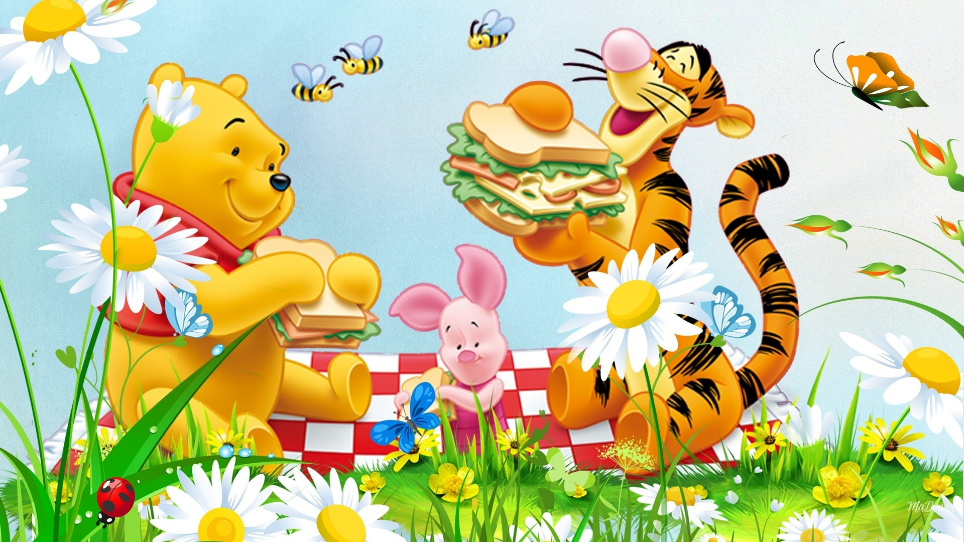 Iphone X Frame Wallpaper Picnic Flowers Grass Bee Winnie The Pooh Tigger And Piglet