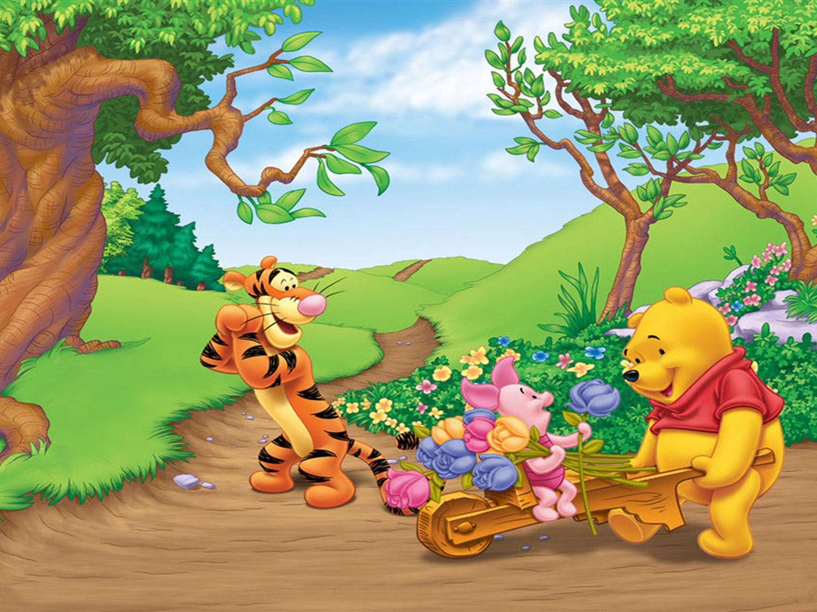 Piglet Wallpaper Iphone Tigger Piglet And Winnie The Pooh Spring Picking Flower