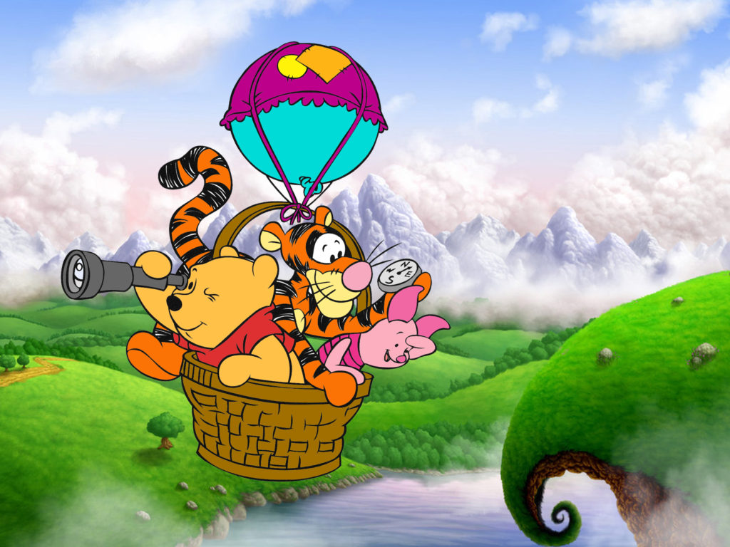Iphone Fish Wallpaper Winnie The Pooh Tigger And Piglet Cartoon Flying Balloon