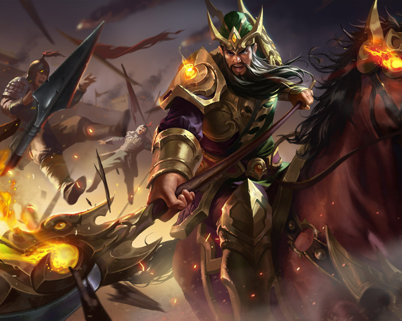 King Crown Hd Wallpaper Guan Yu Knight Assassin King Of Glory Warrior On A Horse