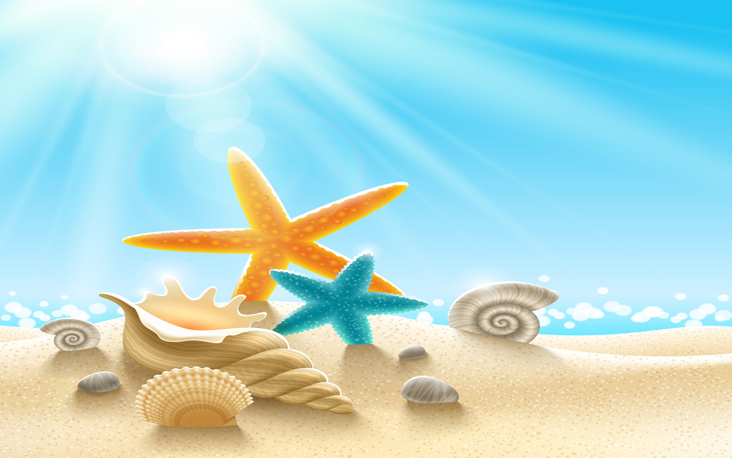 Orchid Iphone Wallpaper Underwater World Sea Stars Clams Snails Sand Sunlight
