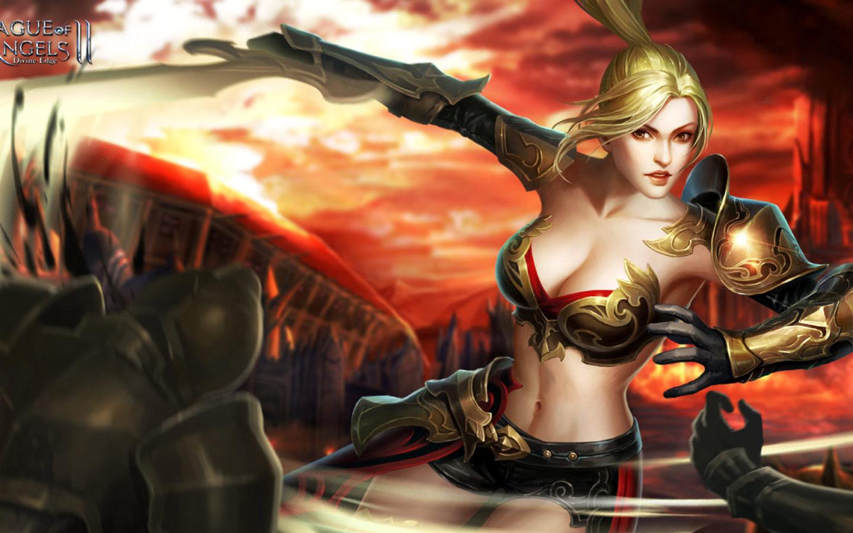 Girl On The Beach Wallpaper League Of Angels 2 Karen Fantasy Girl Warrior Game Loa Art