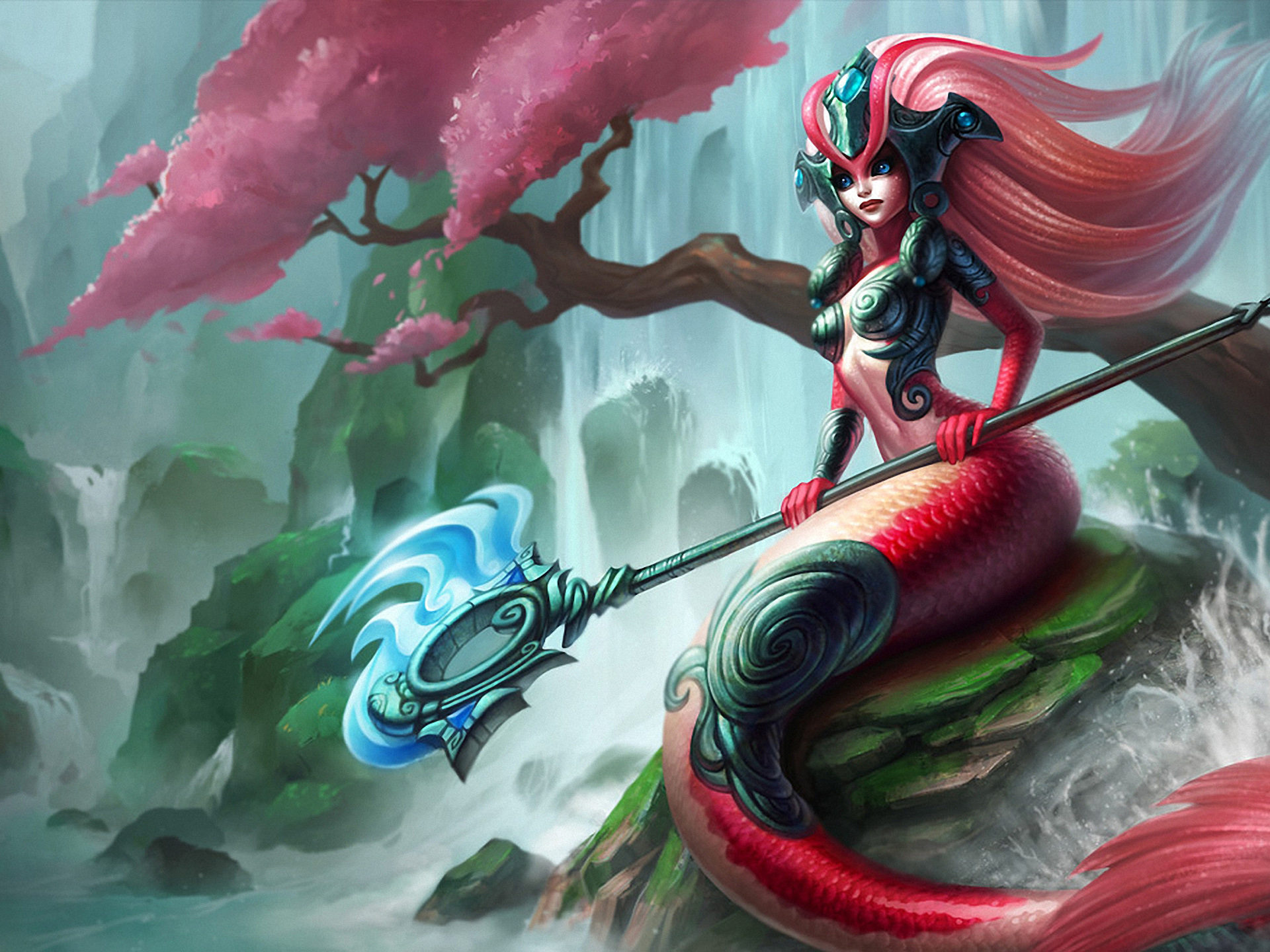Mage Girl Wallpaper Video Game League Of Legends Koi Nami Girl Mermaid River