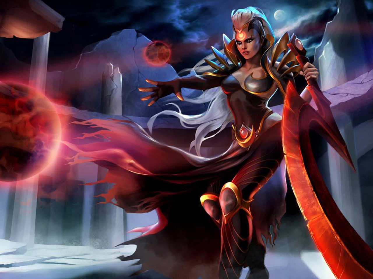 Fighter Girl Wallpaper Video Game League Of Legends Characters Blood Moon Diana