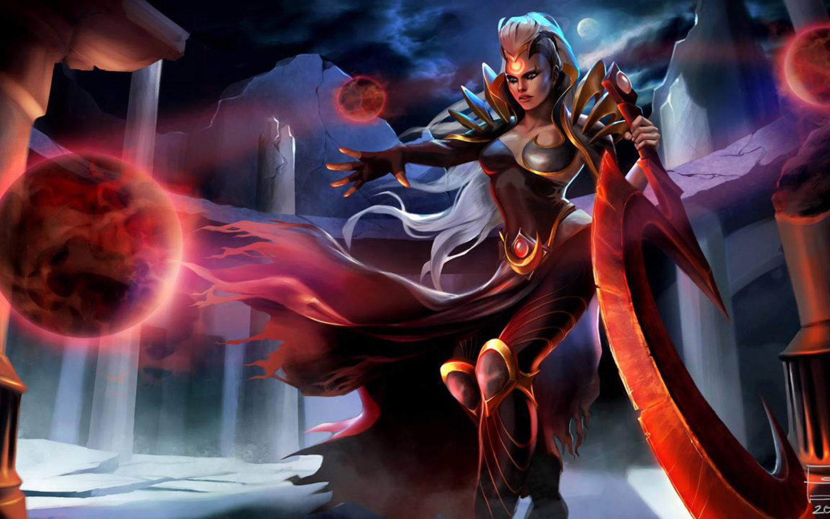 Iphone Wallpaper Beach Girl Video Game League Of Legends Characters Blood Moon Diana