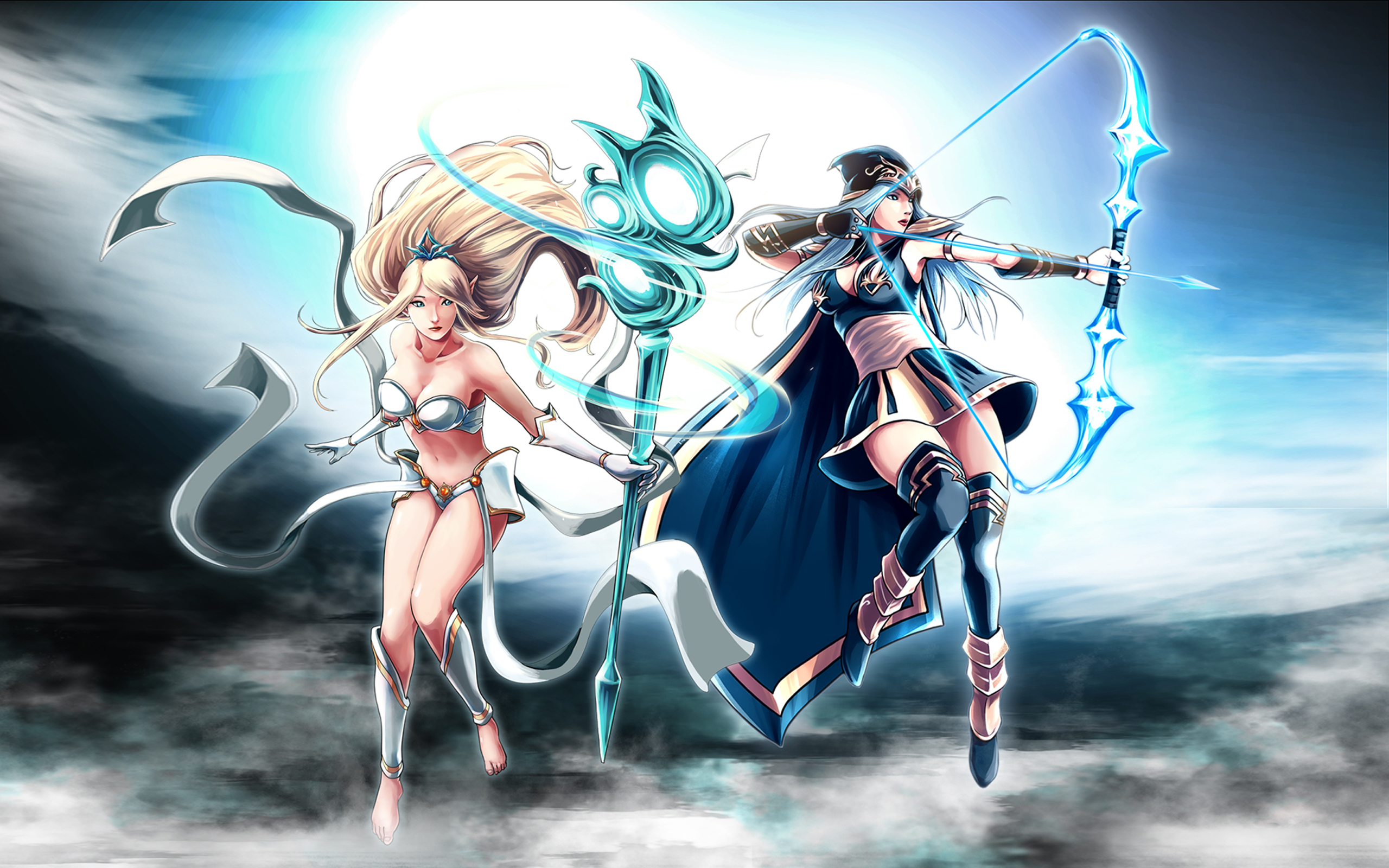 Warrior Girl Wallpaper Hd Ashe Amp Janna League Of Legends Champion Fan Art Hd