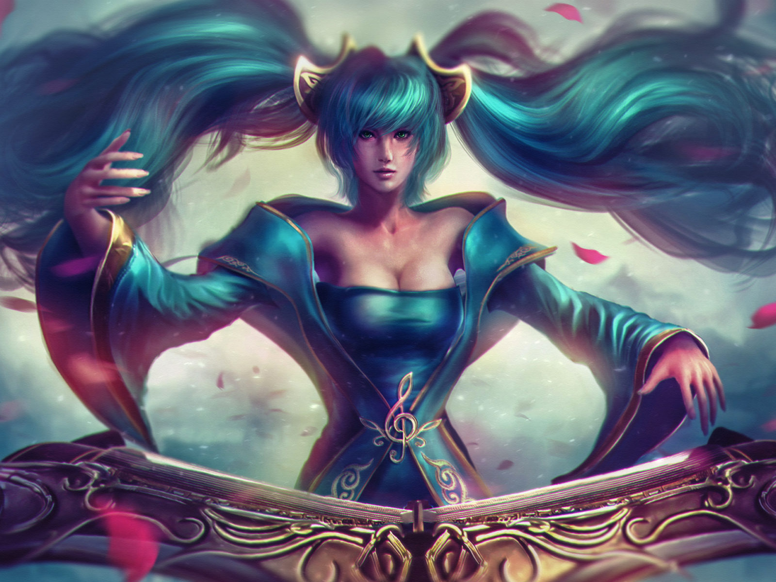Mage Girl Wallpaper League Of Legends Champion Sona Girls Blue Hair Maven Of