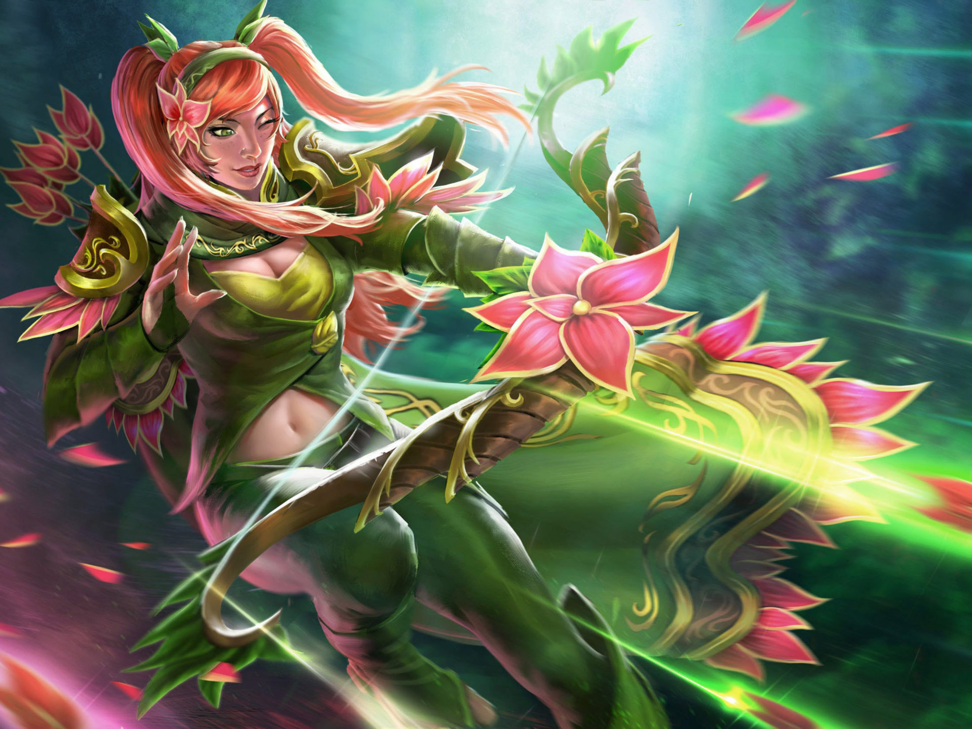 Girl Wallpaper For Iphone 5 Windranger Dota 2 Heroes Beautiful Girl Orchid Flower Bow