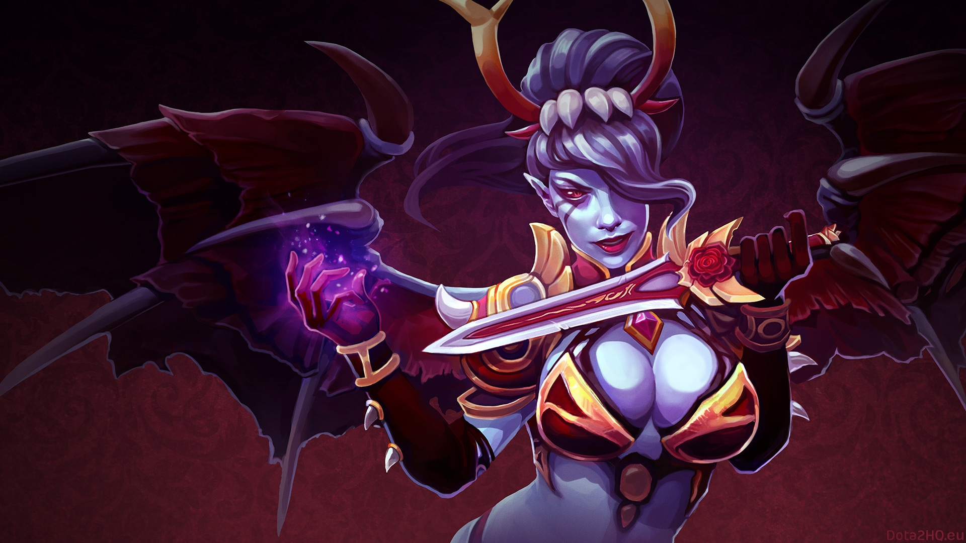 Animated Wallpaper Android Tablet Dota 2 Caracters Queen Of Pain Magic Girl Wings Knife