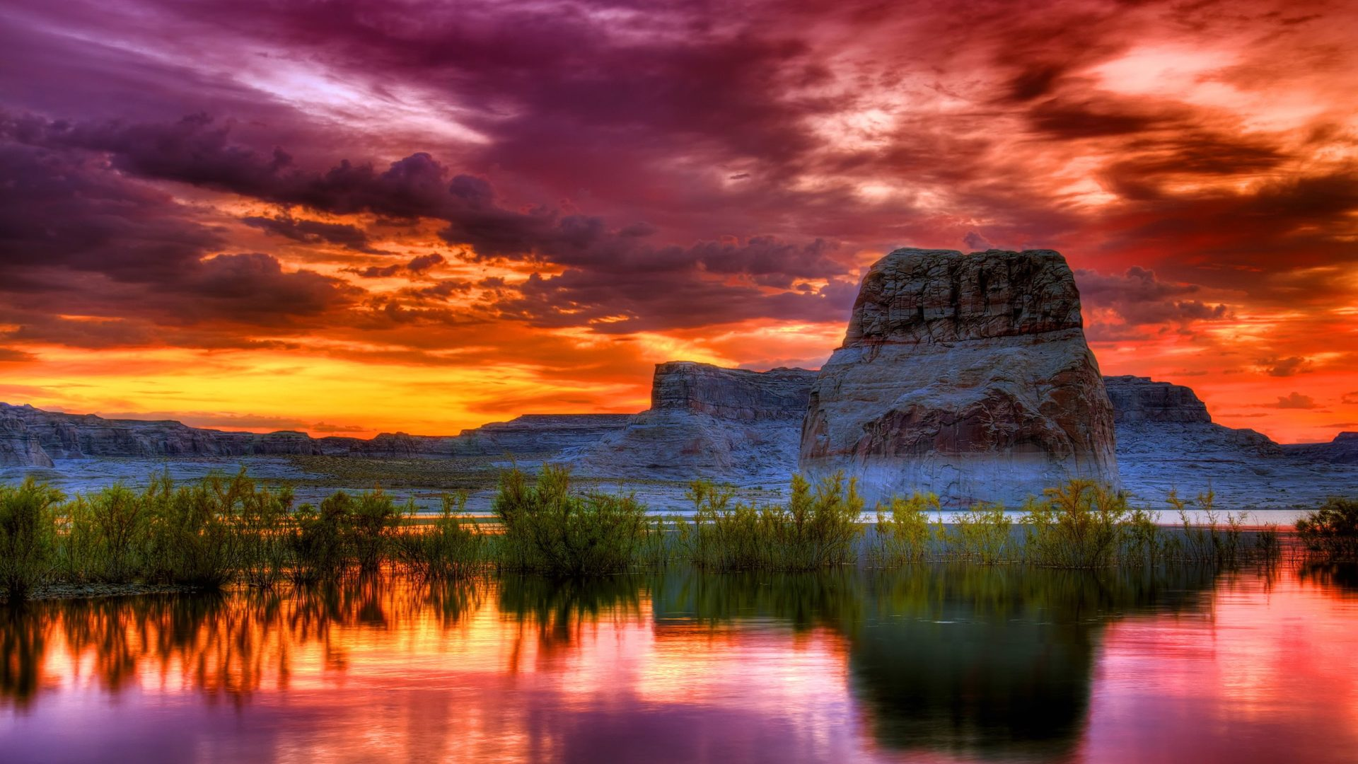 Amazing Wallpapers For Iphone 4 Arizona Sunset Scenery Lake Rocky Mountains Orange Clouds