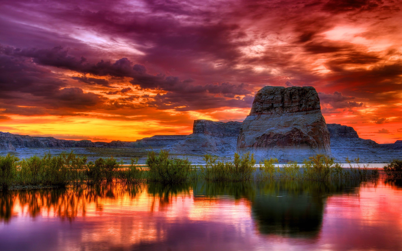 Girl Hd Wallpaper Free Download Arizona Sunset Scenery Lake Rocky Mountains Orange Clouds