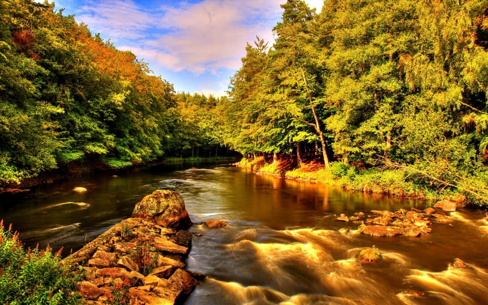 1680x1050 Fall Wallpaper Beautiful Nature Summer River Creek Shore Trees Rocks