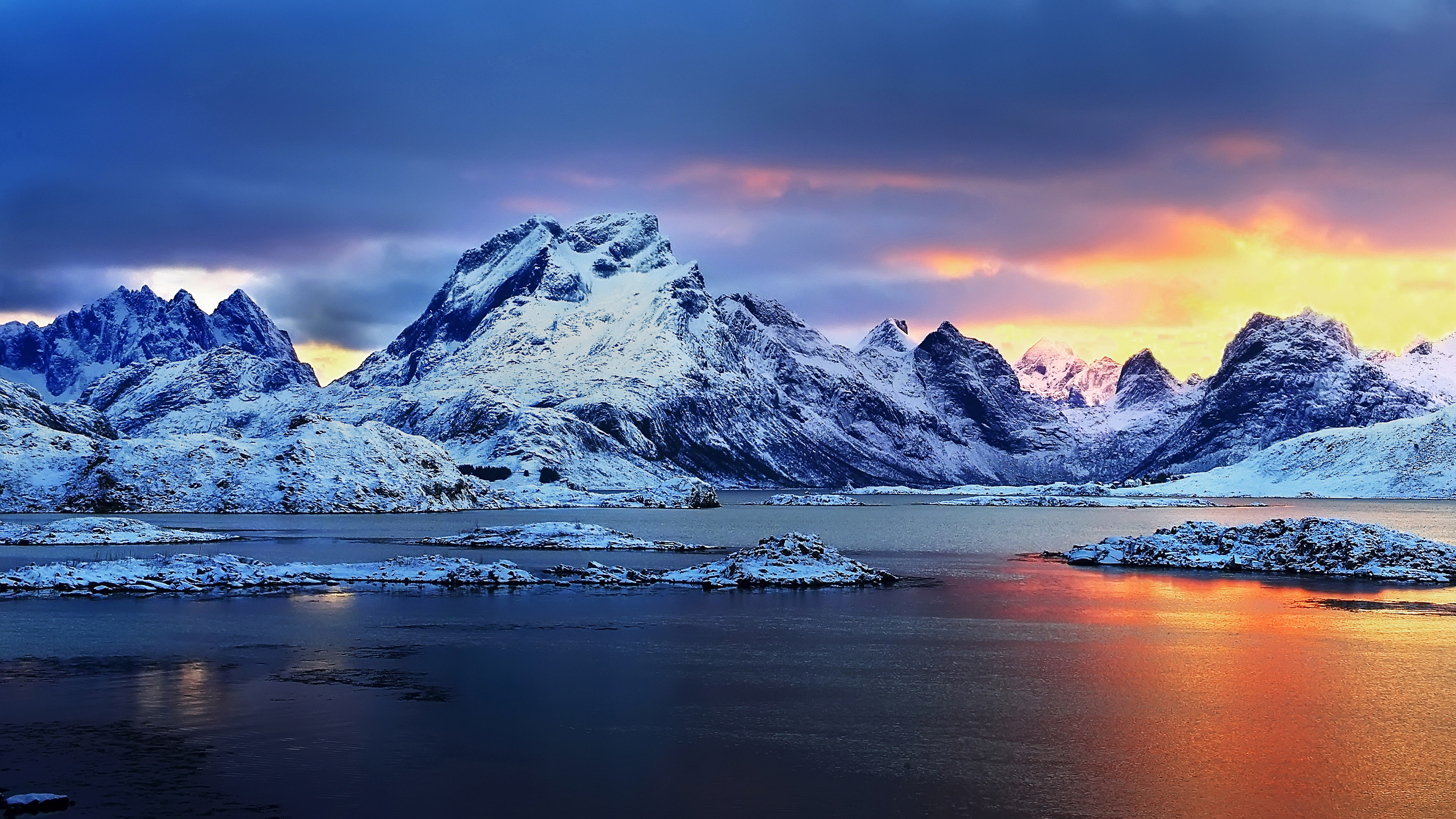 Animated Snow Wallpaper Norway Sunset Snowy Mountains Winter Landscape Hd