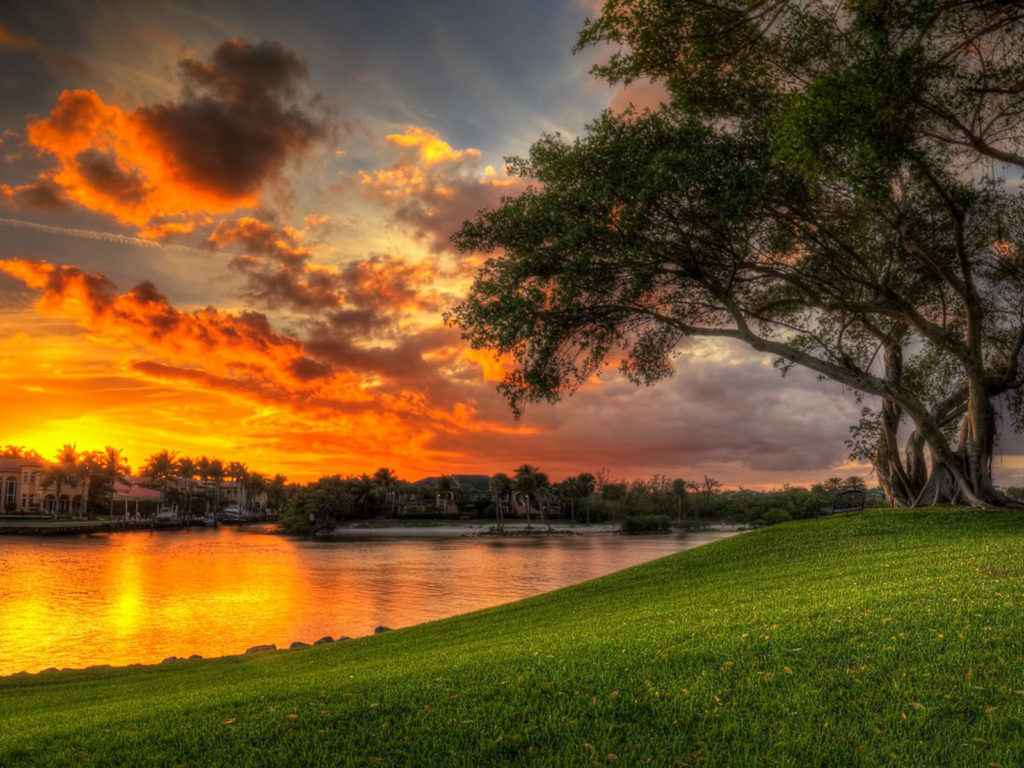 Christmas Wallpaper Hd 1920x1080 Beautiful Sunset Red Clouds Villa Lake Coast Green Meadow