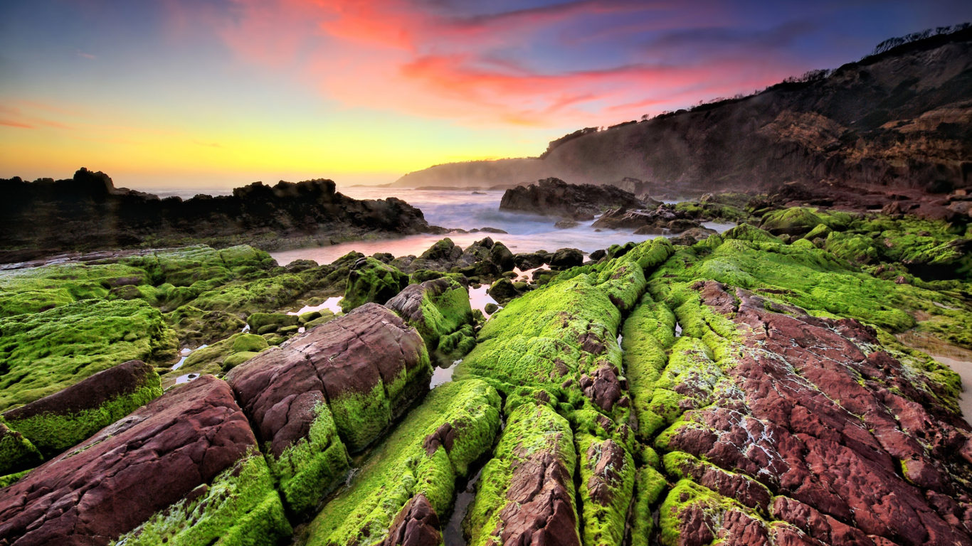 3d Wallpaper Hd 1080p Free Download For Pc Sea Coast Sunset Rocks Green Moss Waves Indonesia