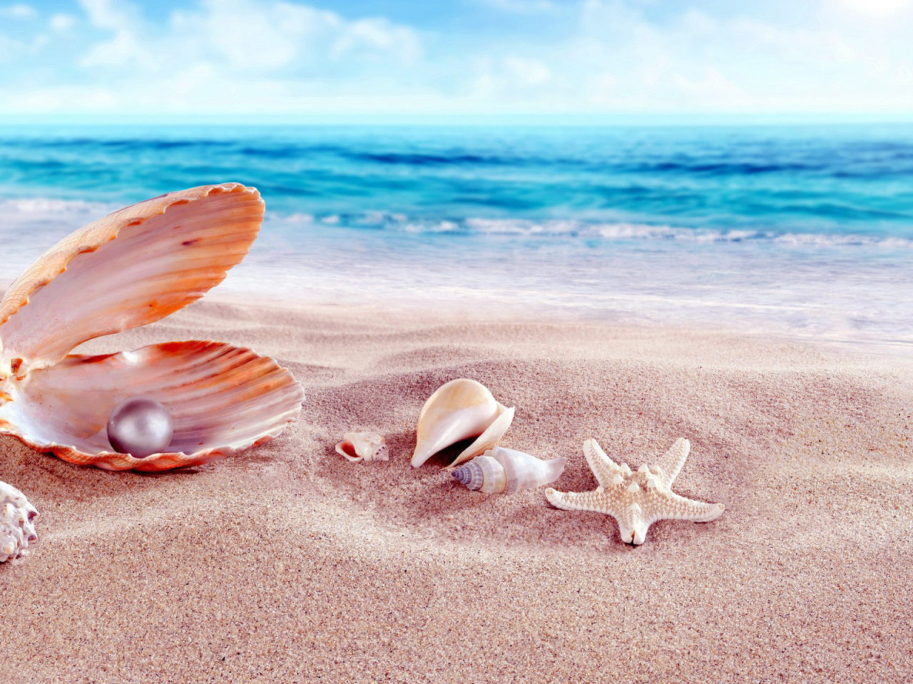 3d Animated Wallpaper For Pc Desktop Free Download Windows 7 Sea Shells With Beads Sandy Beach Hd Wallpapers 1920x1200