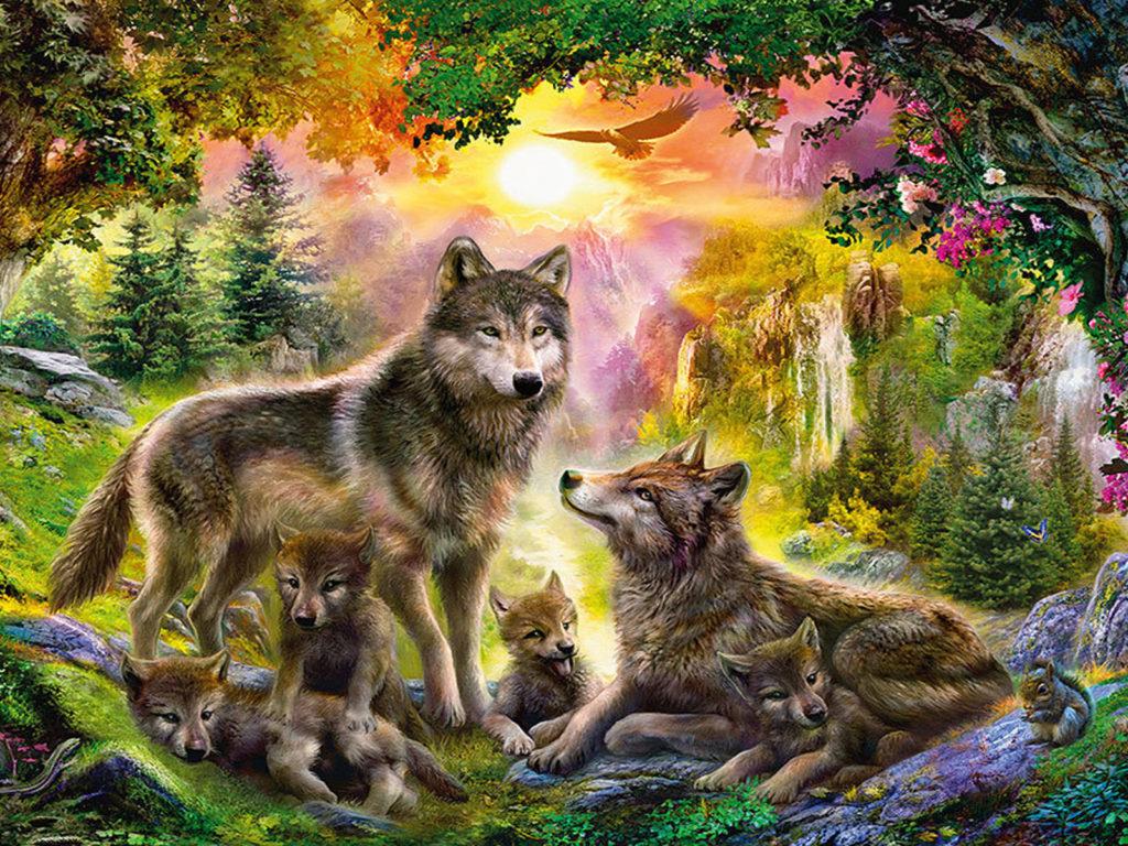 Hd Christmas Wallpaper For Ipad Wolf Families Animal Art Wallpaper Hd 1920x1200