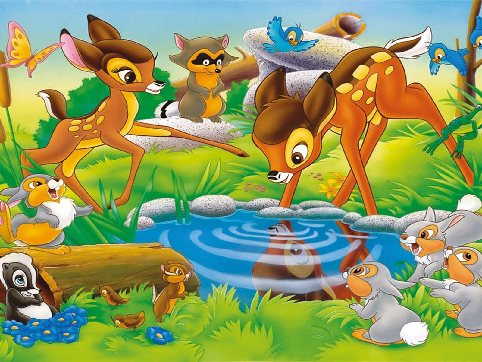 The Cars Disney Wallpaper Hd Bambi S Friends Faline Flower Thumper Miss Bunny At The