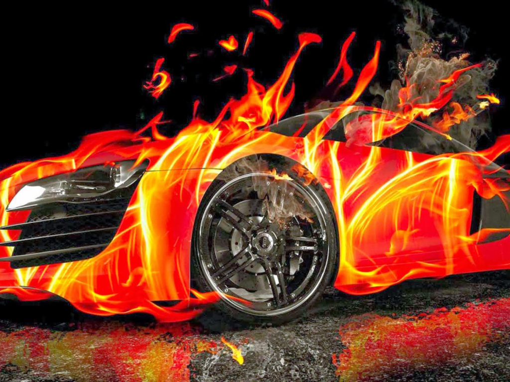 Free Fall Hd Wallpapers Red Ford Mustang 3d Car Fire Wallpaper Hd For Desktop
