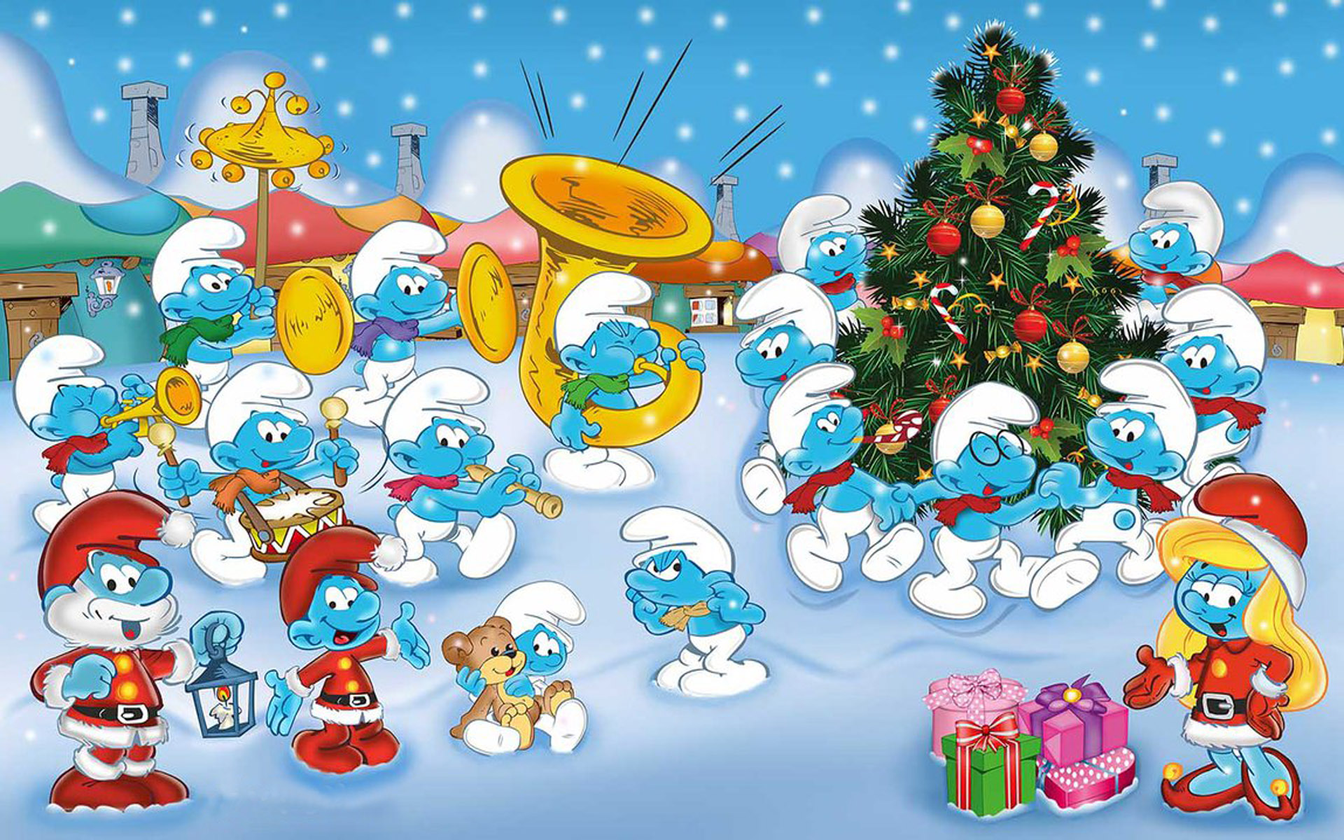 Smurf Wallpaper 3d The Smurfs Music Orchestra Cartoons Merry Christmas And