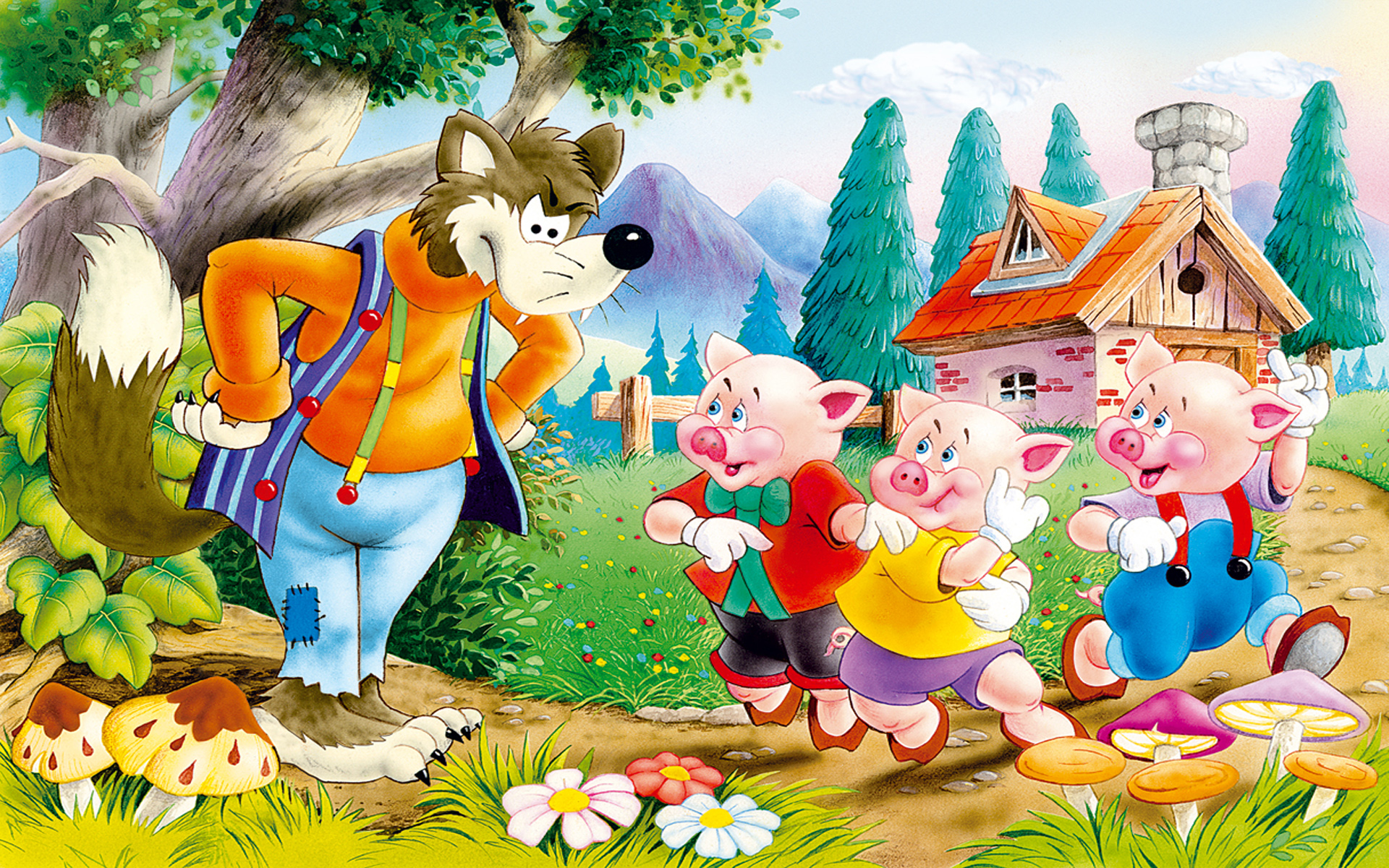 Piglet Wallpaper Iphone Three Little Pigs Amp The Cunning Wolf Children S Stories