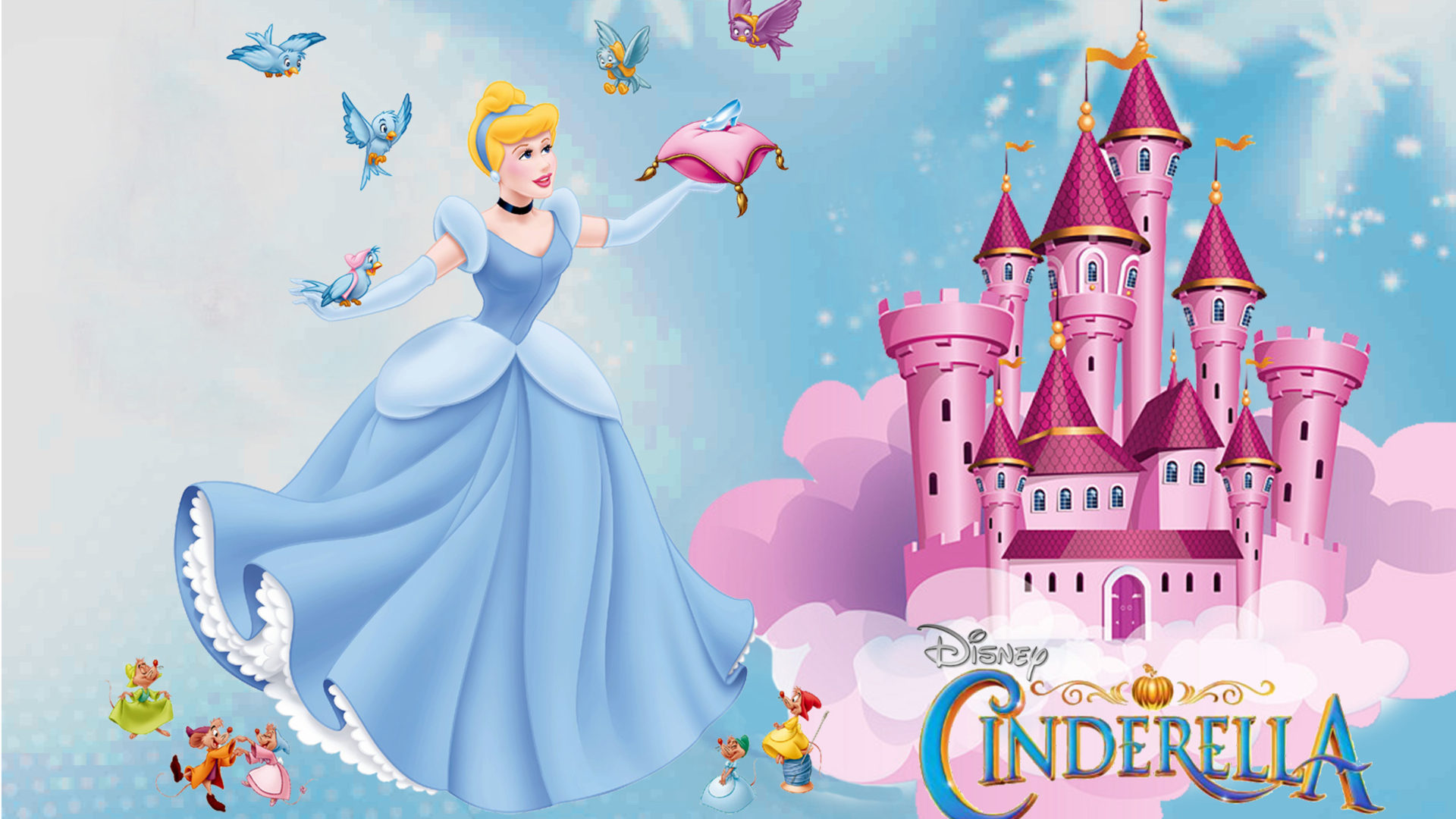 Cartoon Wallpaper Iphone X Castle Of Princess Cinderella Friends Jaq Gus Mary And