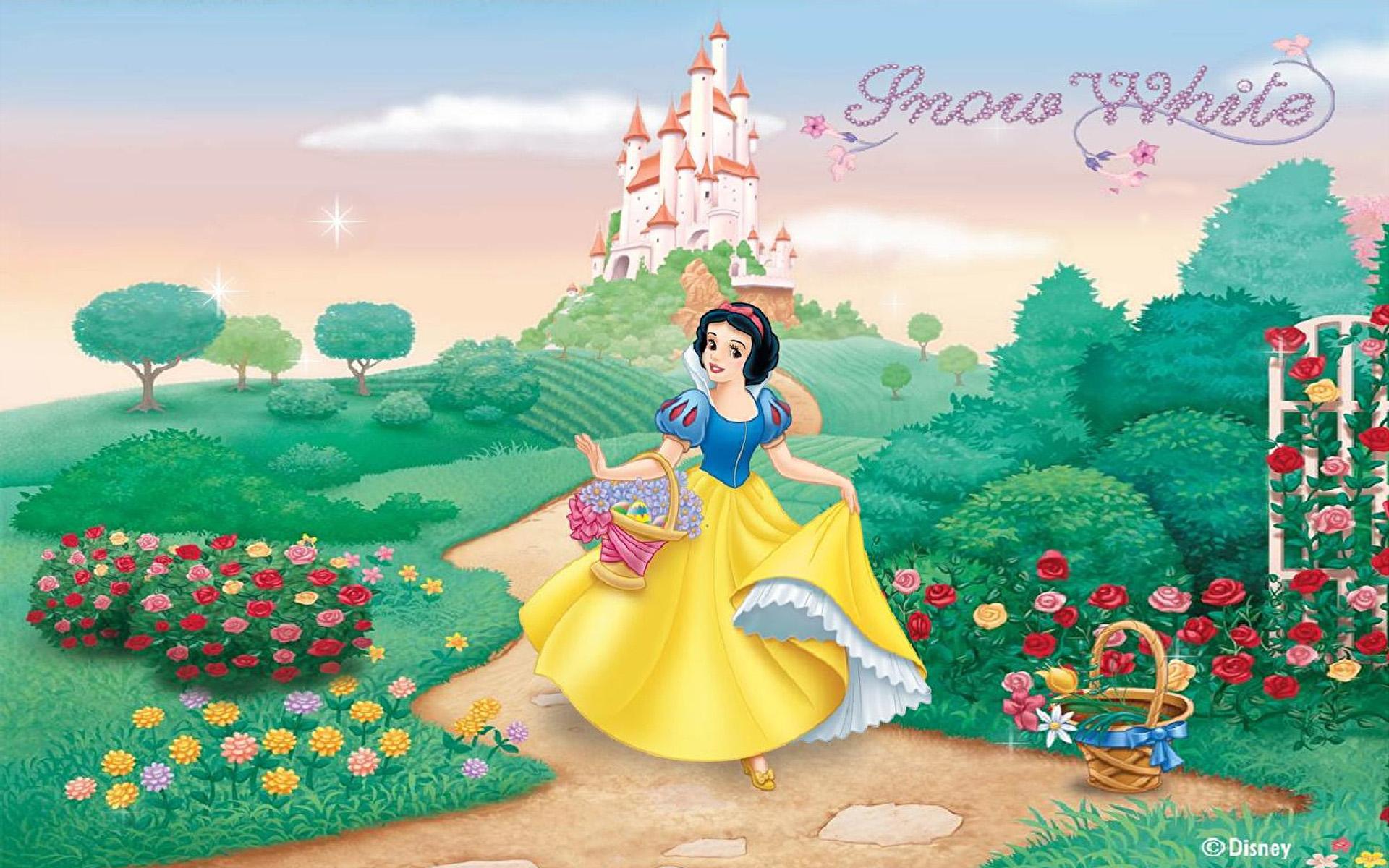 Animated Snow Wallpaper Castle Of Princess Snow White Garden Harvesting Flowers