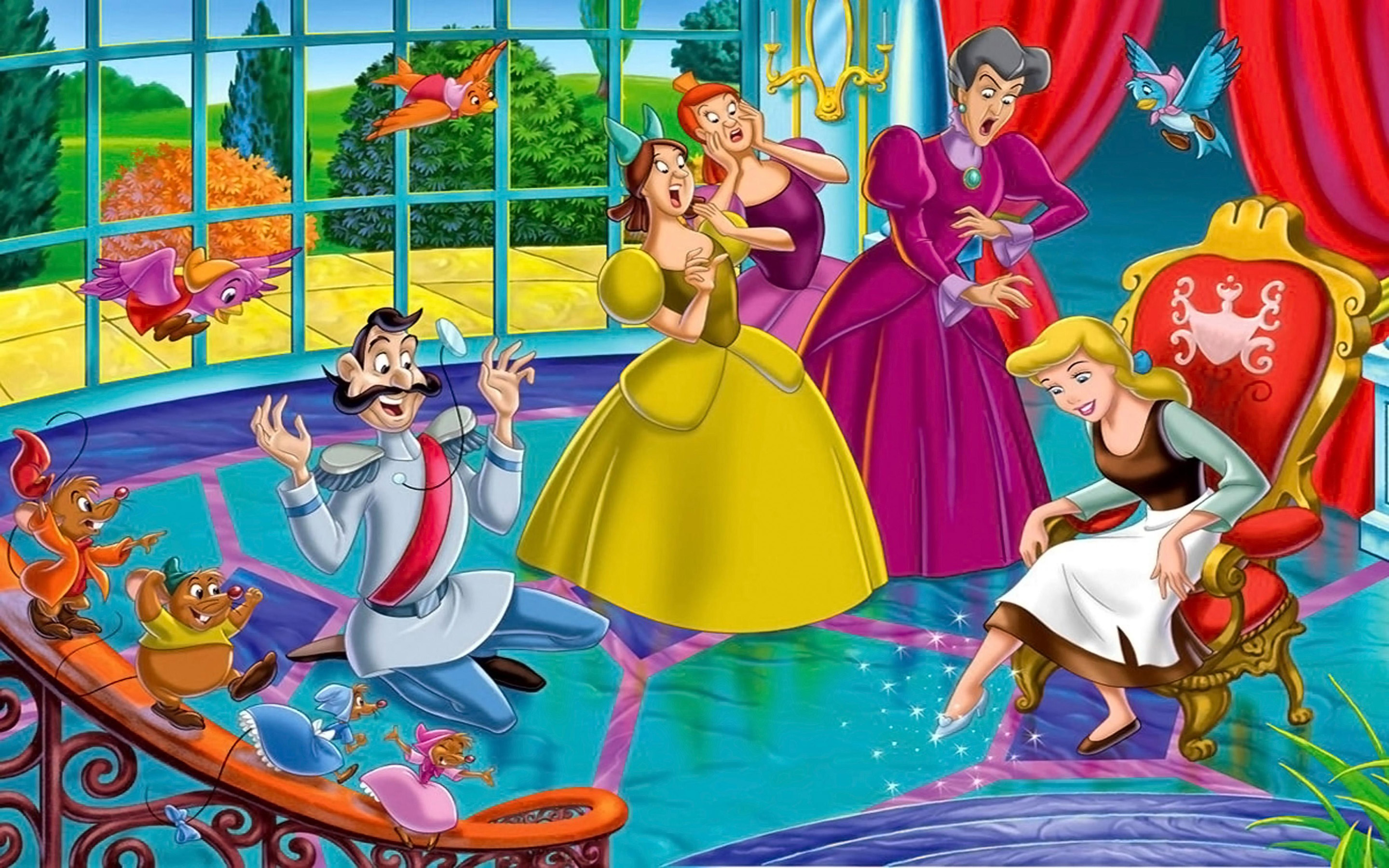 Wallpaper Iphone 5 Cartoon Cinderella Manages To Put On The Shoe The Rest Are