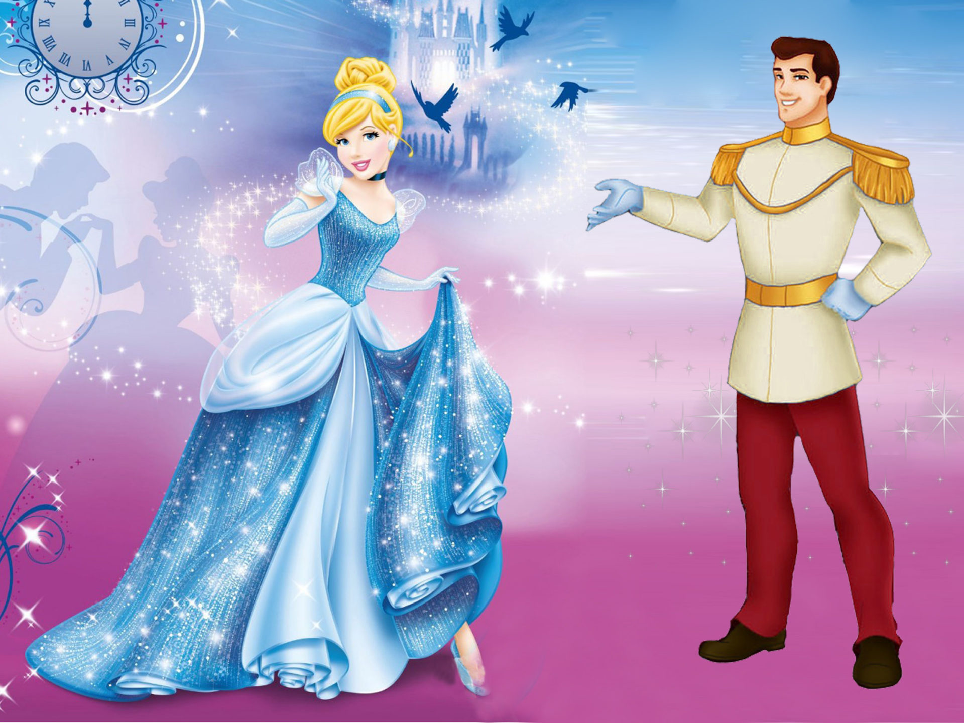 Wallpaper Desktop 1366x768 Car Disney Princess Cinderella And Prince Charming Desktop