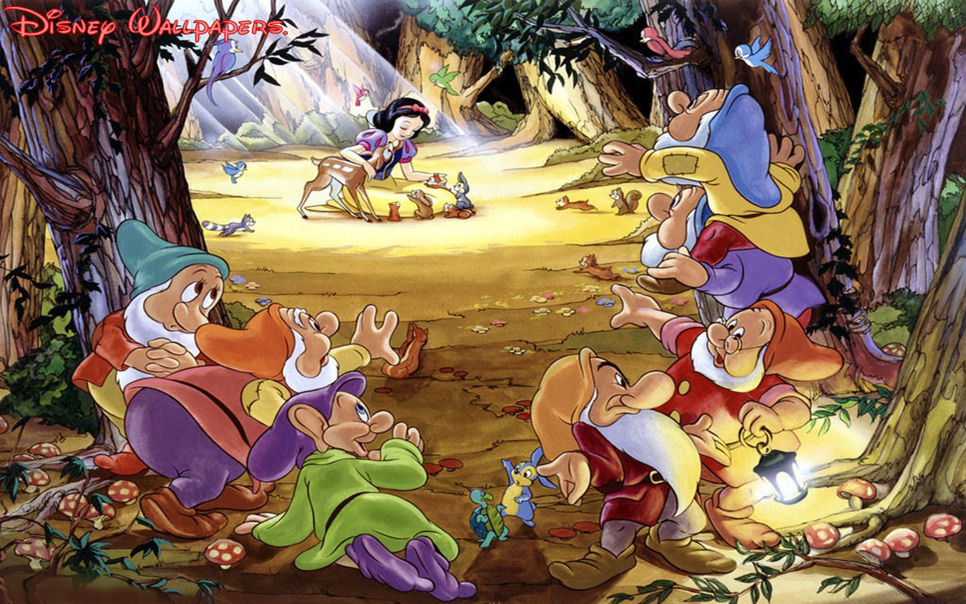 Girl Forest Wallpaper Seven Dwarfs Snow White And Bambi With Friends Of The