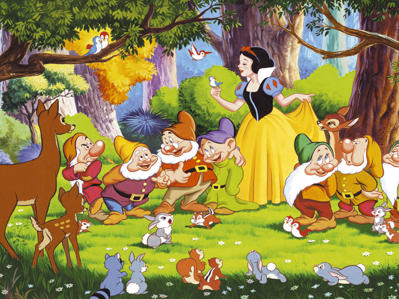 Wallpapers Cars Disney Hd Snow White Seven Dwarfs Bambi And The Animals From The