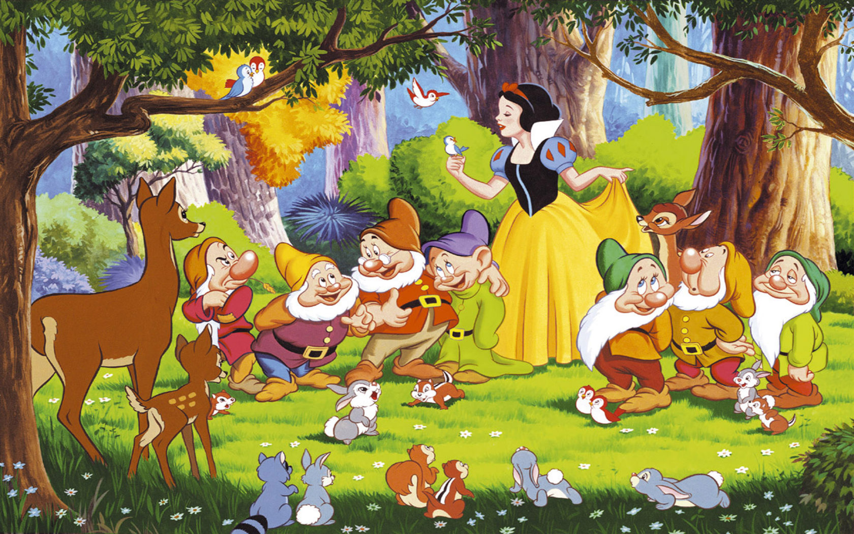 Cute Wallpaper Download For Mobile Snow White Seven Dwarfs Bambi And The Animals From The