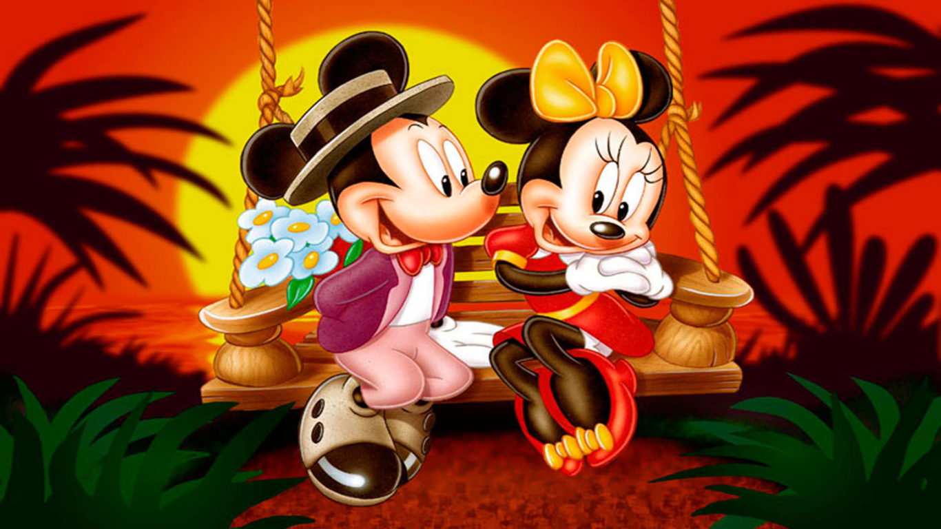 Cute Couple Wallpapers For Lock Screen Cartoon Mickey And Minnie Mouse Sunset Romantic Couple Hd