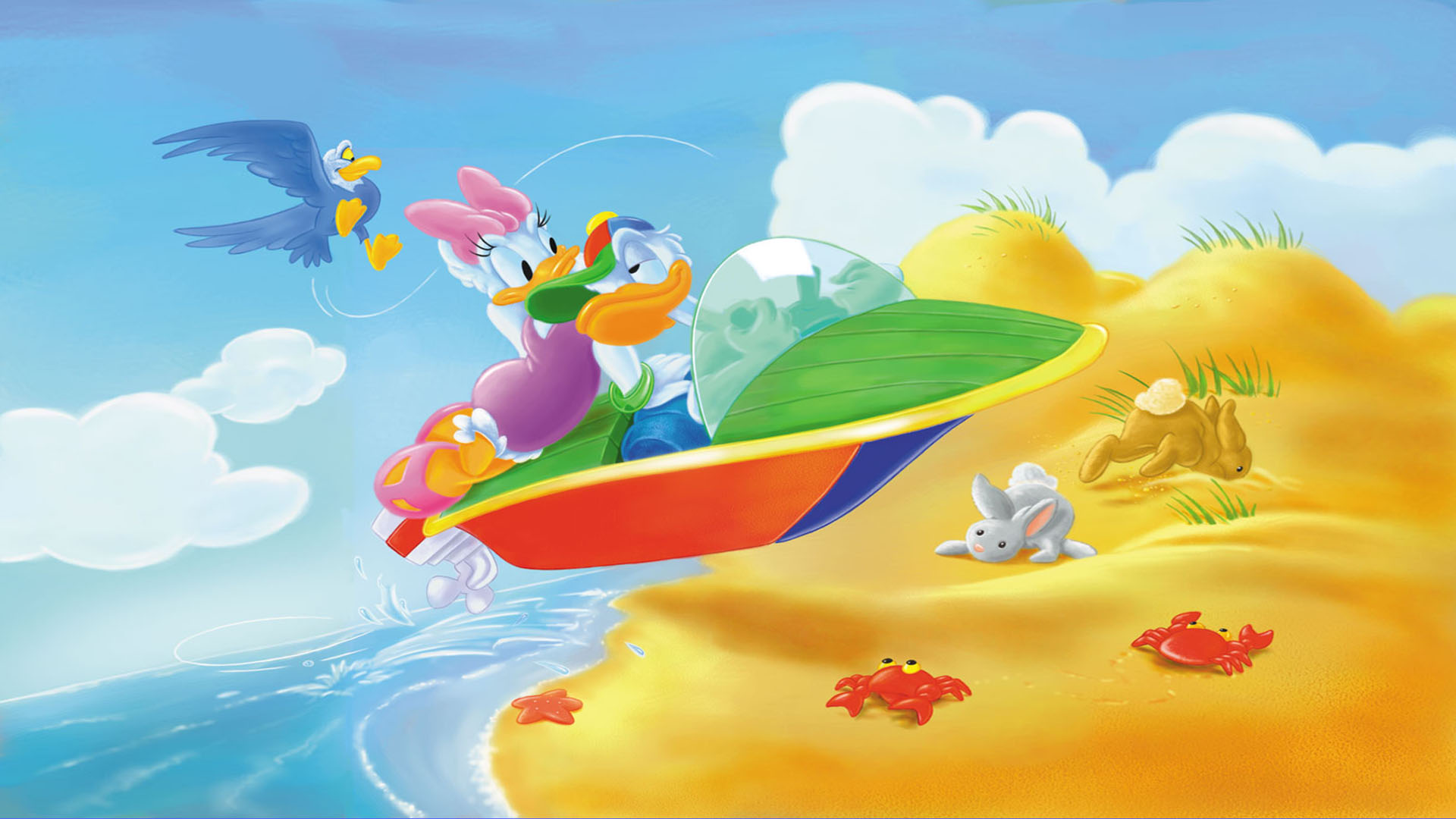 Cartoon Wallpaper Iphone X Donald Duck And Daisy Riding Motorboat Photo Wallpaper Hd